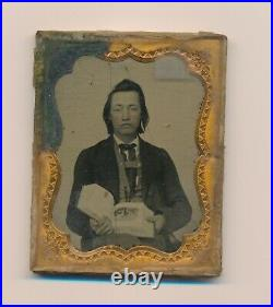 1850's Rare One of Kind Image Native American Civilian Clothes Feather Earring