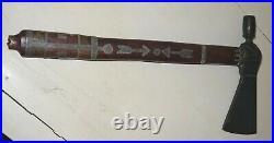 19th Century Brass Tomahawk with Pewter Inlays Human Figure Thunderbird RARE