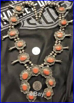 230 Grams Vintage Red Agate Sterling Silver Squash Blossom Necklace Rare
