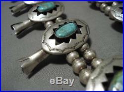 331 Gram Vintage Navajo Rare Turquoise Sterling Silver Squash Blossom Necklace