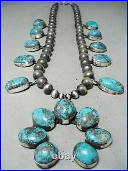 543 Gram Important Navajo Rare Turquoise Sterling Silver Squash Blossom Necklace