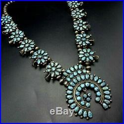 ALICE QUAM Rare MUSEUM QUALITY #8 Turquoise Cluster SQUASH BLOSSOM Necklace