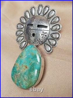 Alex Sanchez Sterling Silver Rare Sun Face & Turquoise Large Pendant