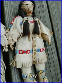 Antique Native American Rare Indian Beaded Leather Hide Dolls