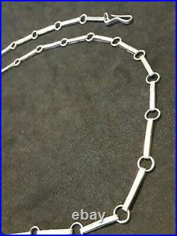 Antique STERLING SILVER Old Pawn Handmade Chain Link Necklace 20 Lg Rare