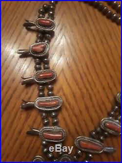Antique Squash Blossom Necklace, RED CORAL Sterling 165 grams 24 BIG, very rare