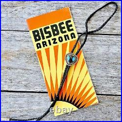 Bisbee Turquoise Bolo Tie Vintage 1970's Sterling Silver Cowboy Western RARE