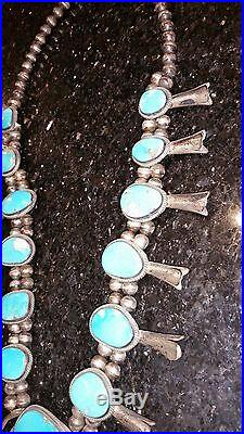Blue Turquoise, Very Rare SQUASH BLOSSOM Vintage Necklace, fine Sterling Silver