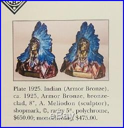 Bookends Extreme Rare Armor Bronze Native American Chief Polychrome Artist Sign