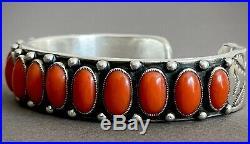 CALVIN MARTINEZ Vintage Navajo Coral Cuff Bracelet 114 Grams RARE