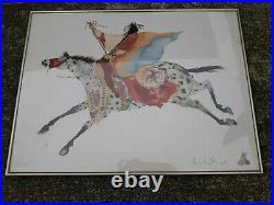 CAROL GRIGG Native American Indian Rare FLYING HORSE Watercolor print