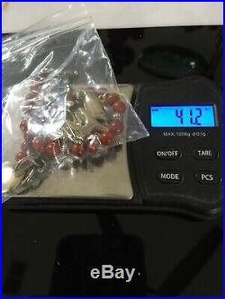 Carolyn Pollack Andrew Rodriguez Red Jasper Charm Brace 7-8 Navajo 3-D 925 Rare