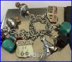 Carolyn Pollack Route 66 Charm Bracelet Navajo 6-9 Native Turquoise 925 RARE
