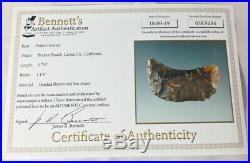 Certified Rare Paleo Crescent, Banded Brown/Tan Jasper, California, Bennett COA