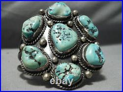 Chunky Rare Vintage Navajo Green Old Kingman Turquoise Sterling Silver Bracelet