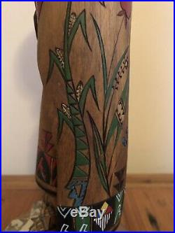 Collectible Rare Native American Art Acoma Pueblo Carved Figure Signed By Artist