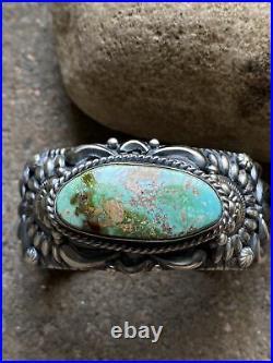 Darryl Becenti Sterling Silver Green Royston Turquoise Cuff Bracelet Navajo Rare