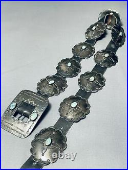 Earlier Very Rare Vintage Navajo Turquoise Sterling Silver Concho Belt