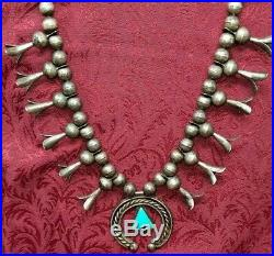 Early Rare Old Pawn Turquoise & Silver Coin Squash Blossom Necklace