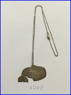 Early Vintage Hand Carved Silver Tlingit Pendant Amos Wallace Juneau Alaska Rare