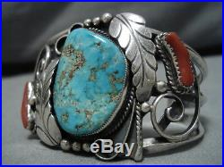 Extremely Rare #8 Turquoise Vintage Navajo Sterling Silver Bracelet Old Cuff