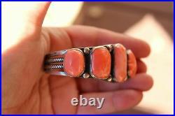 Extremely Rare Angel Skin Coral Vintage Navajo Verdy Jake Sterling Cuff Bracelet