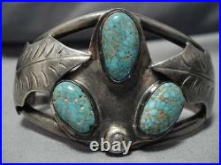 Extremely Rare Green #8 Turquoise Vintage Navajo Sterling Silver Bracelet Old