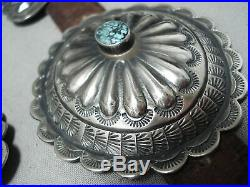 Extremely Rare Turquoise Vintage Navajo Sterling Silver Concho Belt