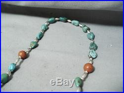 Extremely Rare Vintage Navajo Turquoise Sterling Silver Coral Rosary Necklace