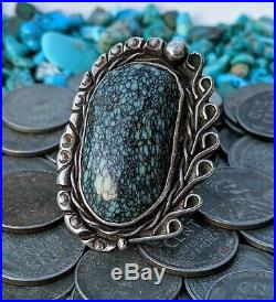 Giant Navajo Sterling Silver New Landers Spiderweb Turquoise Ring Sz7 Rare