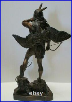 Greg Polutanovich Bronze Metal Sculpture Rare Native American Indian Large Rare