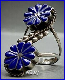 HUGE LONG Vintage ZUNI Native American Sterling Silver Inlay Ring RARE