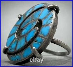 HUGE RARE Vintage ZUNI Native American Sterling Silver Turquoise Inlay Ring OLD