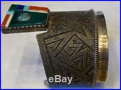 HUGE Rare Navajo RICHARD TSOSIE Sterling Tufa Cast Multi Gem Cuff Bracelet 165+G