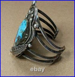 HUGE SIGNED DAVID F GARCIA KEWA Sterling Coral Turquoise Bracelet Old Pawn Rare
