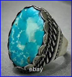 HUGE THICK RARE Vintage Navajo Turquoise Sterling Silver Ring 18 Grams