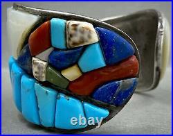 HUGE Vintage Navajo Sterling Silver Cobblestone Turquoise Cuff Bracelet RARE