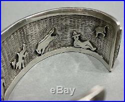 HUGE Vintage Navajo Sterling Silver Turquoise Cobblestone Inlay Bracelet RARE