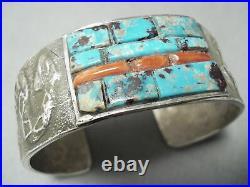 Heavy Rare Vintage Navajo Turquoise Coral Sterling Silver Bracelet