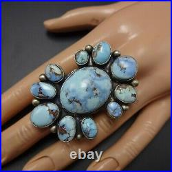 Huge Gorgeous NAVAJO Sterling Silver RARE GOLDEN HILLS TURQUOISE RING size 8.5