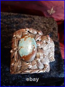 Huge Native American Cuff Sterling Turquoise Buffalo Rare 233+ gm