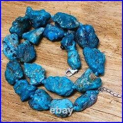 Huge Natural Fox Turquoise Nugget Necklace 22 in 155 Grams Rare Fine