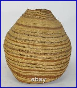 Huge & Rare Hupa polychrome storage basket, Native American Indian, circa 1900