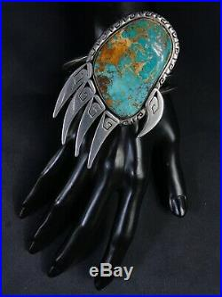 Huge Rare Navajo Norma Vandever Royston Turquoise Sterling Claw Cuff Bracelet