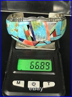 Huge Rare Navajo Turquoise Multi-stone Inlay Sterling Silver Cuff Bracelet 67g