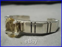 Huge Rare Vintage Navajo Citrine Sterling Silver Bracelet
