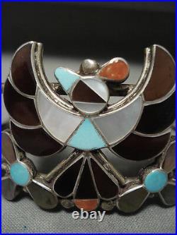 Huge Rare Vintage Zuni Turquoise Bird Silver Coral Bracelet Old