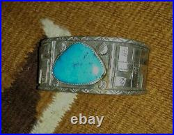 Huge Sterling Silver Antique Native American Whirling Log Navajo Cuff, Fine Rare