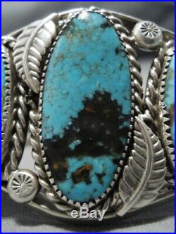 Huge Vintage Navajo Rare Number 8 Turquoise Sterling Silver Bracelet Old