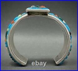 INCREDIBLE Vintage Navajo Silver Turquoise Cornrow Inlay Cuff Bracelet RARE